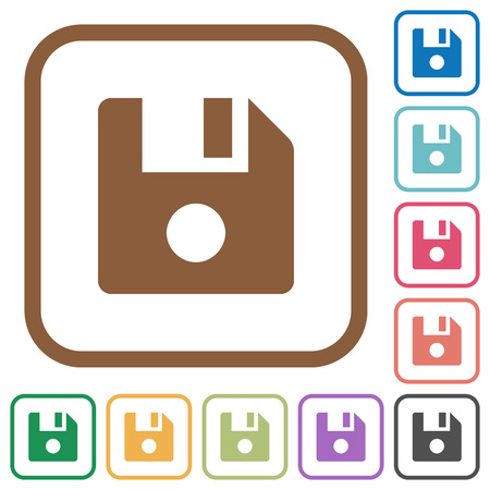 File record simple icons in color rounded square frames on white background