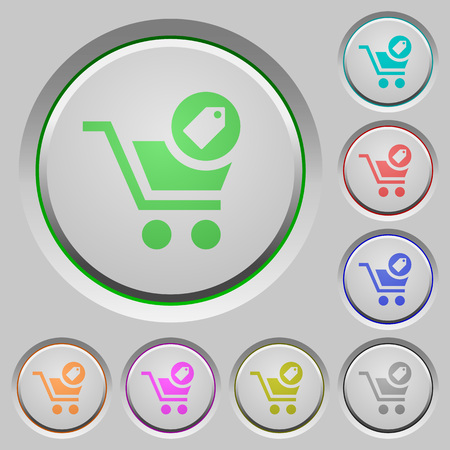 Product purchase features color icons on sunk push buttons
