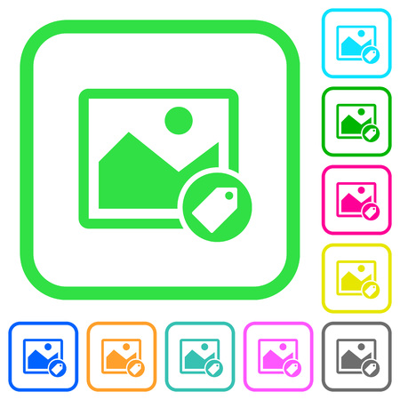 Image tagging vivid colored flat icons in curved borders on white background Illustration