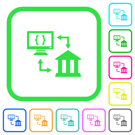 Open banking API vivid colored flat icons in curved borders on white background Illustration