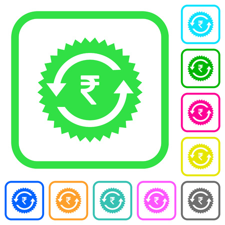 Rupee pay back guarantee sticker vivid colored flat icons in curved borders on white background