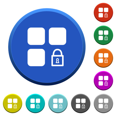 Lock component round color beveled buttons with smooth surfaces and flat white icons