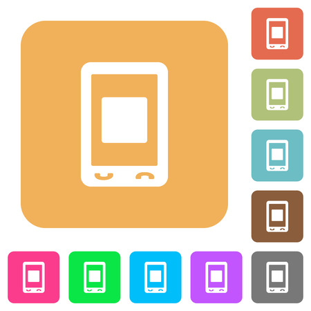 Mobile media stop flat icons on rounded square vivid color backgrounds.