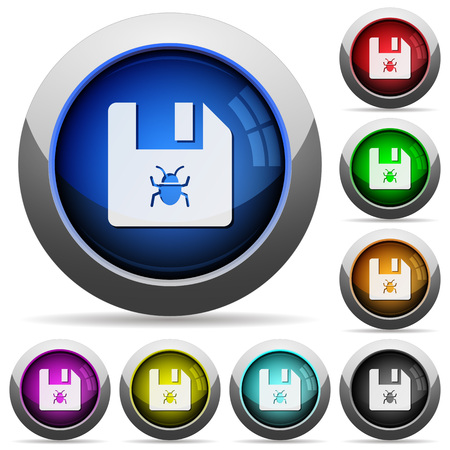 Infected file icons in round glossy buttons with steel frames Çizim