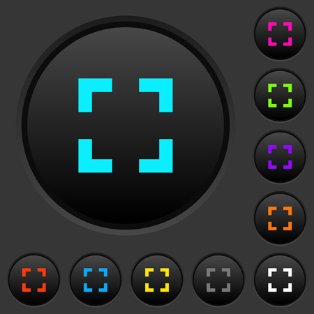 Selector tool dark push buttons with vivid color icons on dark grey background