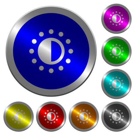Saturation control icons on round luminous coin-like color steel buttons