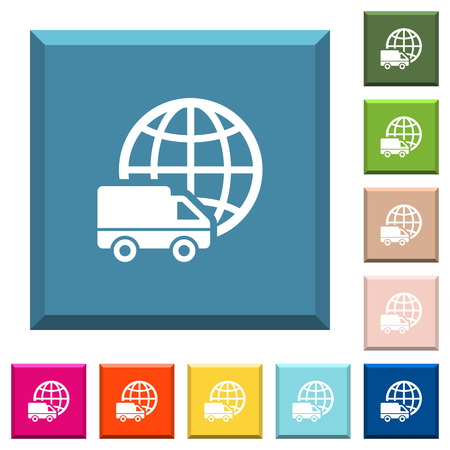 International transport white icons on edged square buttons in various trendy colors