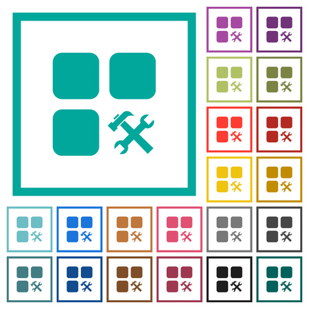 Component tools flat color icons with quadrant frames on white background