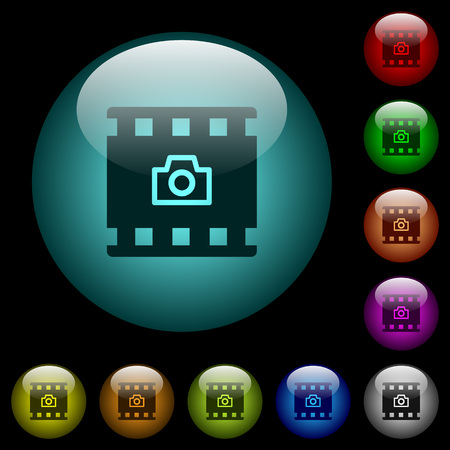 Grab image from movie icons in color illuminated spherical glass buttons on black background. Can be used to black or dark templates Çizim