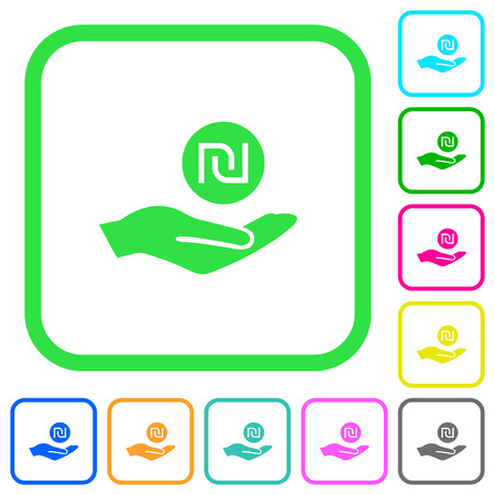 Israeli new Shekel earnings vivid colored flat icons in curved borders on white background Ilustrace