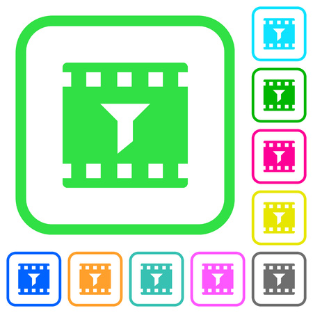 Filter movie vivid colored flat icons in curved borders on white background 向量圖像