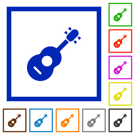 Acoustic guitar flat color icons in square frames on white background