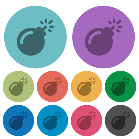 Bomb with sparkling fuse darker flat icons on color round background Illustration