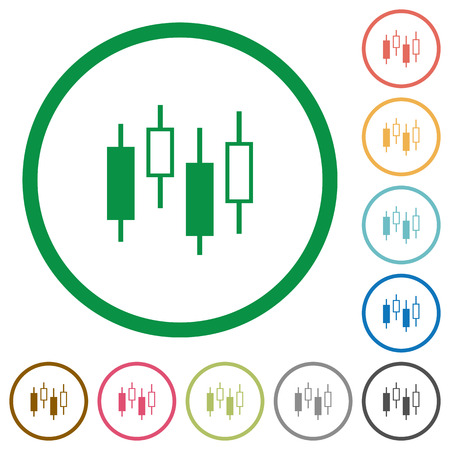 Candlestick Chart Flat Color Icons In Round Outlines On White