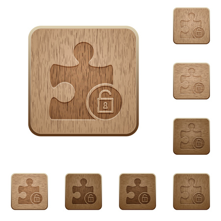 Unlock plugin on rounded square carved wooden button styles Illustration
