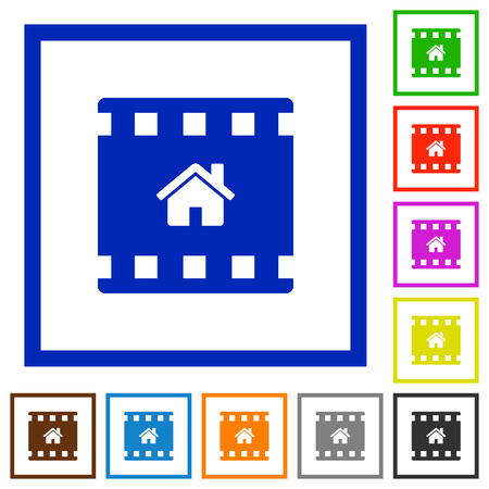 Home movie flat color icons in square frames on white background Иллюстрация