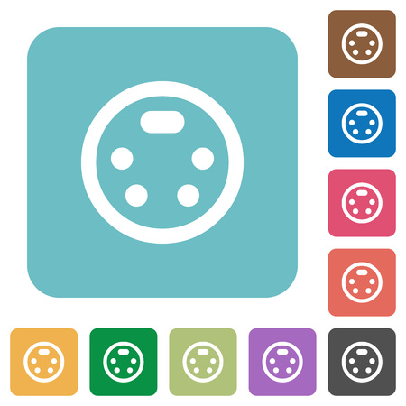 S video connector white flat icons on color rounded square backgrounds.