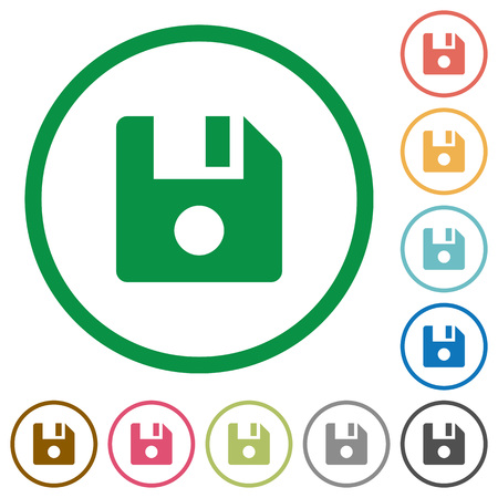 File record flat color icons in round outlines on white background.