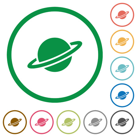 Planet flat color icons in round outlines on white background.
