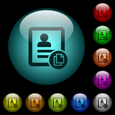 Copy contact icons in color illuminated spherical glass buttons on black background. Can be used to black or dark templates.