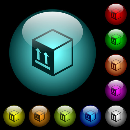 Single package icons in color illuminated spherical glass buttons on black background. Can be used to black or dark templates.