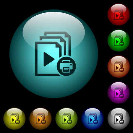 Print playlist icons in color illuminated spherical glass buttons on black background. Can be used to black or dark templates.
