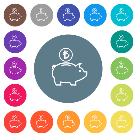 Turkish Lira piggy bank flat white icons on round color backgrounds. 17 background color variations are included. Çizim