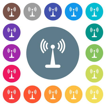 WLAN network flat white icons on round color backgrounds. 17 background color variations are included.