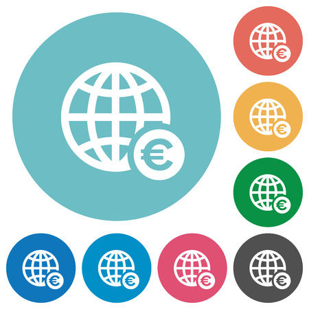 Online Euro payment flat white icons on round color backgrounds