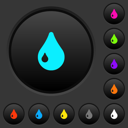 Drop dark push buttons with vivid color icons on dark grey background  イラスト・ベクター素材
