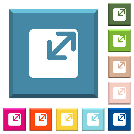 Resize window white icons on edged square buttons in various trendy colors Ilustração