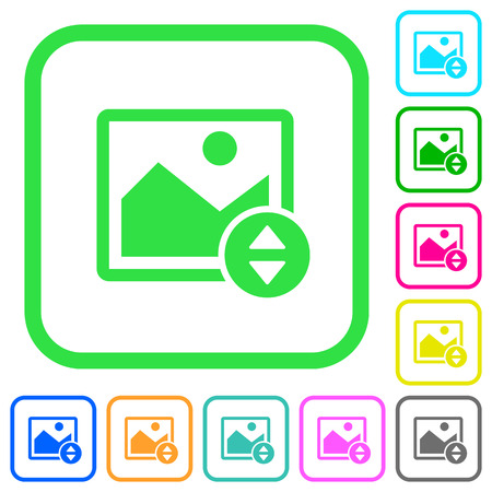 Vertically move image vivid colored flat icons in curved borders on white background