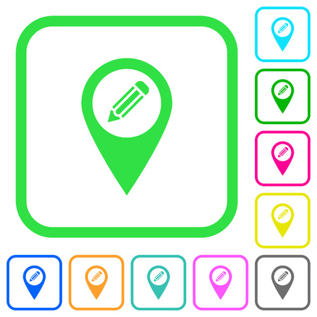 Edit GPS map location vivid colored flat icons in curved borders on white background