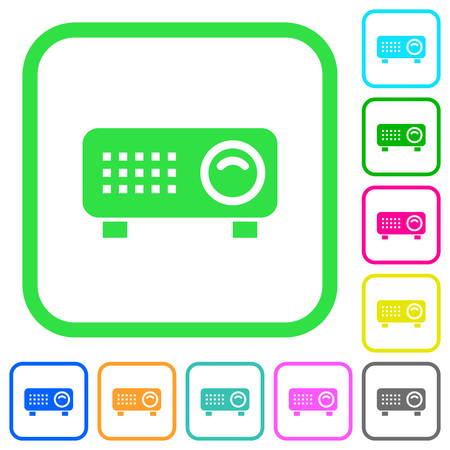 Video projector vivid colored flat icons in curved borders on white background Illustration