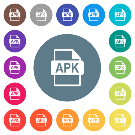 APK file format flat white icons on round color backgrounds. 17 background color variations are included.
