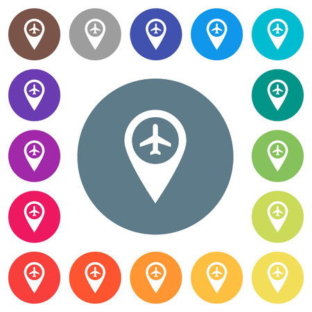Airport GPS map location flat white icons on round color backgrounds. 17 background color variations are included.