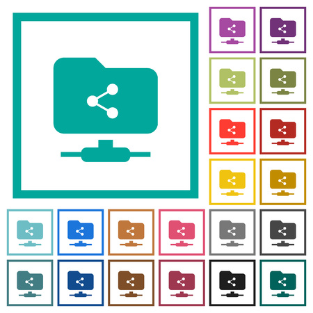 FTP share flat color icons with quadrant frames on white background Ilustrace