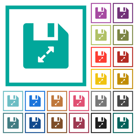 Uncompress file flat color icons with quadrant frames on white background Illustration