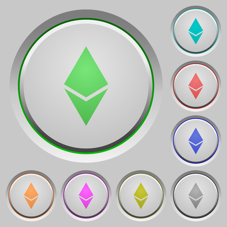 Ethereum digital cryptocurrency color icons on sunk push buttons