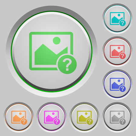 Unknown image color icons on sunk push buttons Illustration