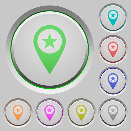 POI GPS map location color icons on sunk push buttons