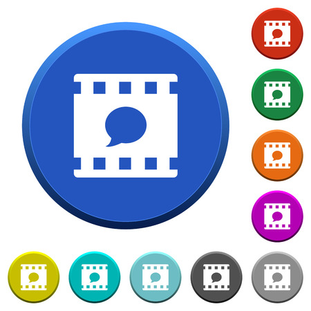 Comment movie round color beveled buttons with smooth surfaces and flat white icons