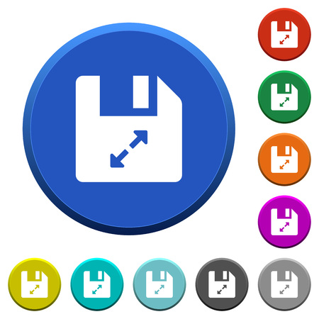 Uncompress file round color beveled buttons with smooth surfaces and flat white icons Ilustrace