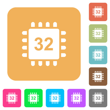 Microprocessor 32 bit architecture flat icons on rounded square vivid color backgrounds. Illustration