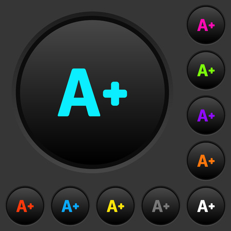 Increase font size dark push buttons with vivid color icons on dark grey background
