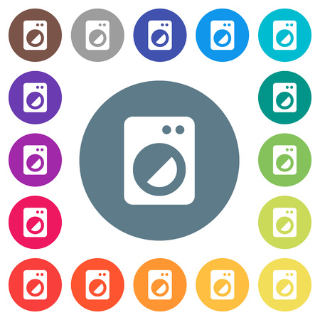 Washing machine flat white icons on round color backgrounds. 17 background color variations are included.