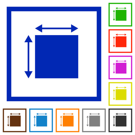 Elemet dimensions flat color icons in square frames on white background