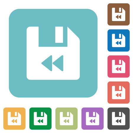 File fast backward white flat icons on color rounded square backgrounds