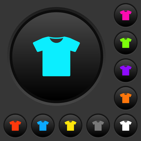 T-shirt dark push buttons with vivid color icons on dark grey background