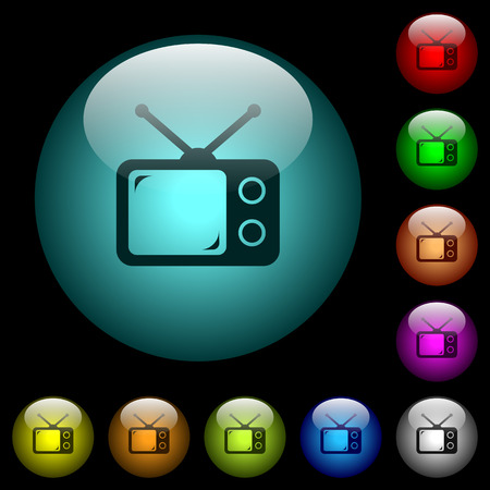 Vintage retro television icons in color illuminated spherical glass buttons on black background. Can be used to black or dark templates